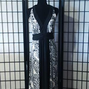 Bisou Bisou Womens Black White Halter Maxi Dress